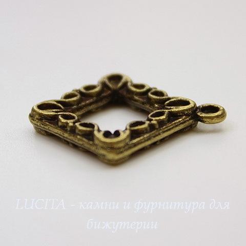 """Подвеска """"Ромб"""" (цвет - античная бронза)  24х21 мм"""