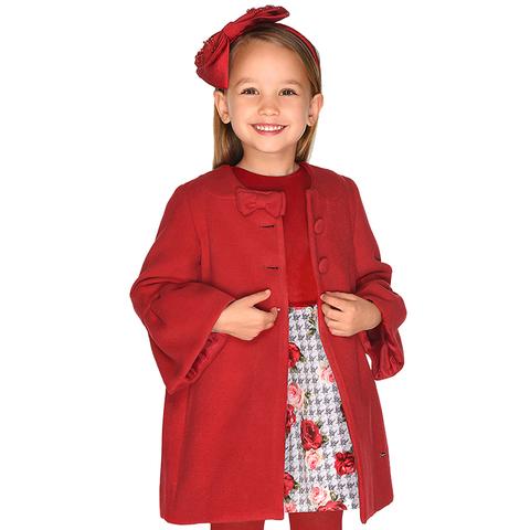Пальто Mayoral Красное драповое с бантиком