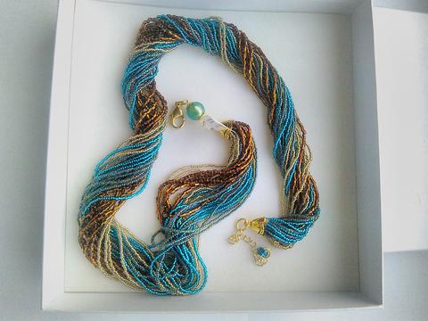 Ожерелье из венецианского бисера из 36 нитей янтарно-зеленое