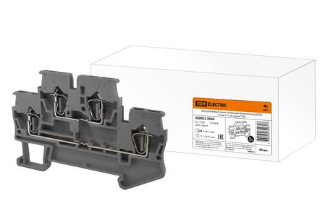 Двухуровневый зажим клеммный безвинтовой (ДЗКБ) 1,5 мм2 17,5А серый TDM