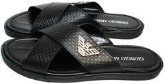 Мужские сандалии из кожи Giorgio Armani 101 01Black.
