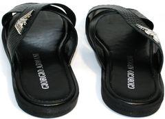 Кожаные сандали мужские Giorgio Armani 101 01Black.