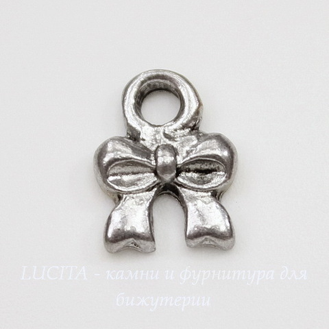 "Подвеска ""Бантик маленький"" (цвет - античное серебро) 10х8 мм"