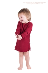 Платье с длинными рукавами ManyMonths, Бордовый (шерсть мериноса 100%)