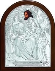 Серебряная икона Благословение детей 11х9см