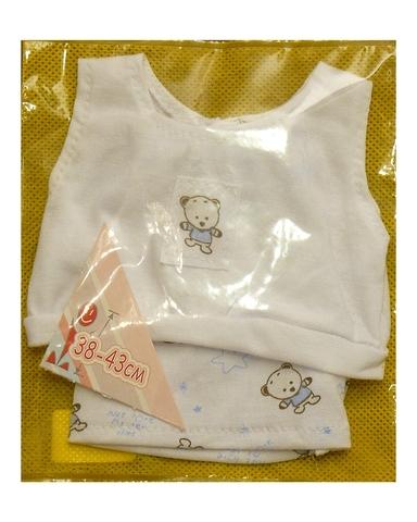 Летний костюмчик - Белый / голубой. Одежда для кукол, пупсов и мягких игрушек.