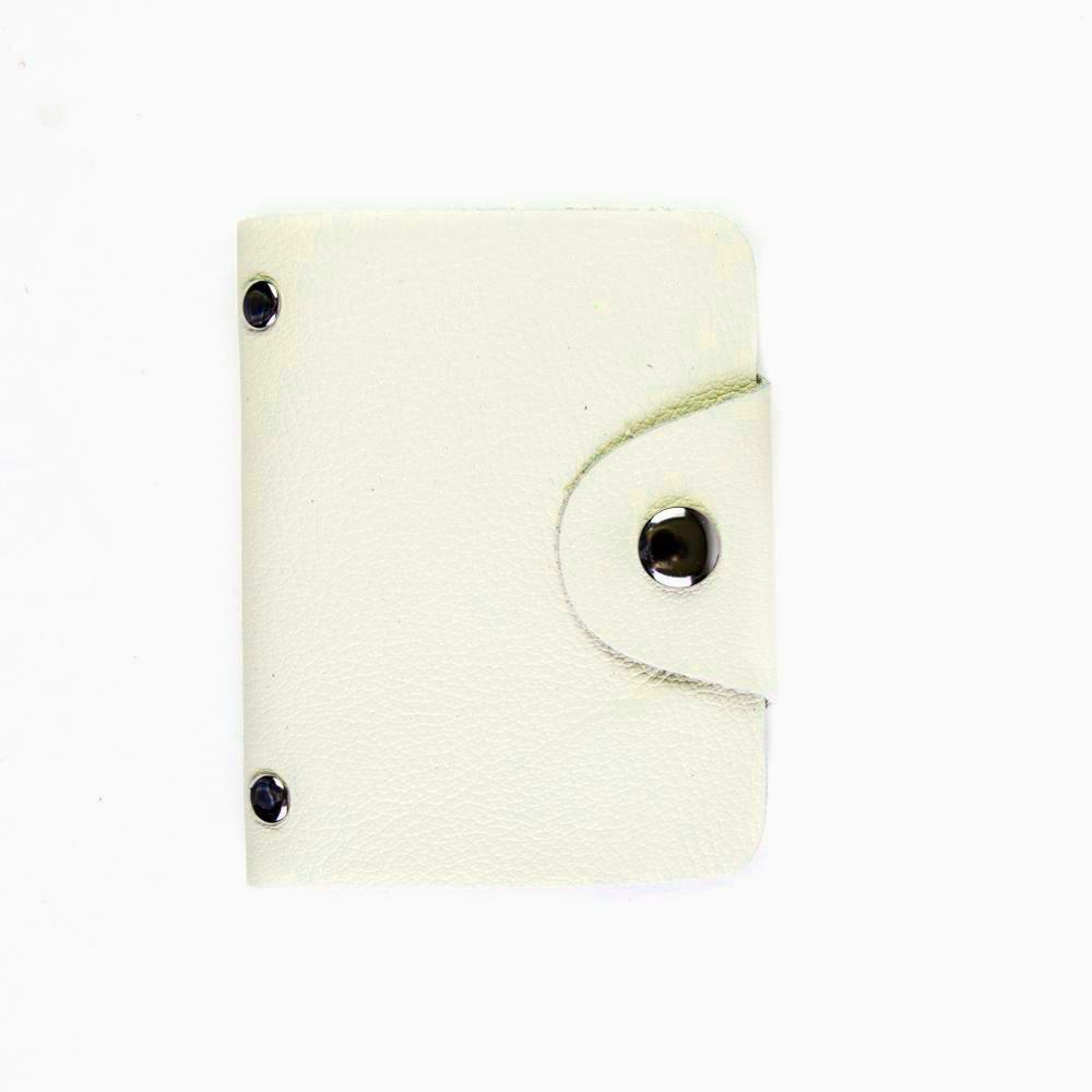 Визитница из натуральной кожи кремовая DoubleCity BC01 White