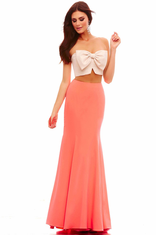 Mac Duggal 48279 Платье кроп-топ оригинальное, такой фасон красиво подчеркнет вашу фигуру, делая силуэт женственным