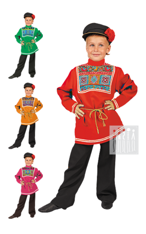 Фото Московский костюм для мальчика рисунок Русский сарафан для девочки предназначен для активного длительного использования - концертных выступлений, творческих конкурсов, народных гуляний, утренников и праздников.