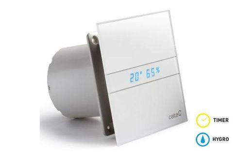 Вентилятор накладной Cata E 120 GTH с обратным клапаном (таймер, датчик влажности, термометр, дисплей)