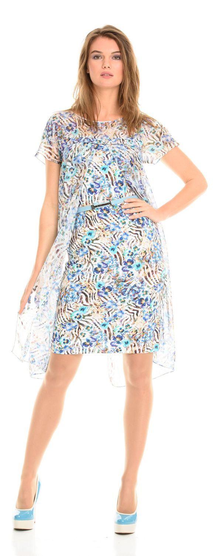Платье З091-303 - Оригинальное двойное платье. Благодаря нижнему трикотажному слою - платье будет удобно в носке, а верхняя шифоновая часть скроет все недостатки фигуры, что даст вам возможность чувствовать себя комфортно и уверенно. Отличный стильный вариант для летнего отдыха