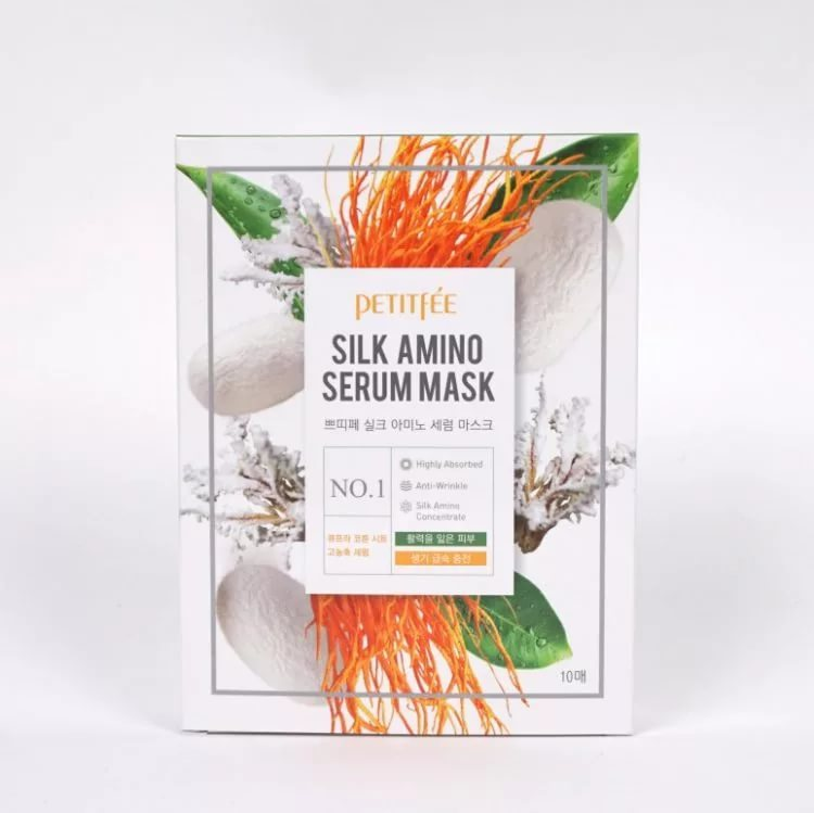 Тканевая маска для лица с протеинами шелка PETITFEE Silk Amino Serum Mask