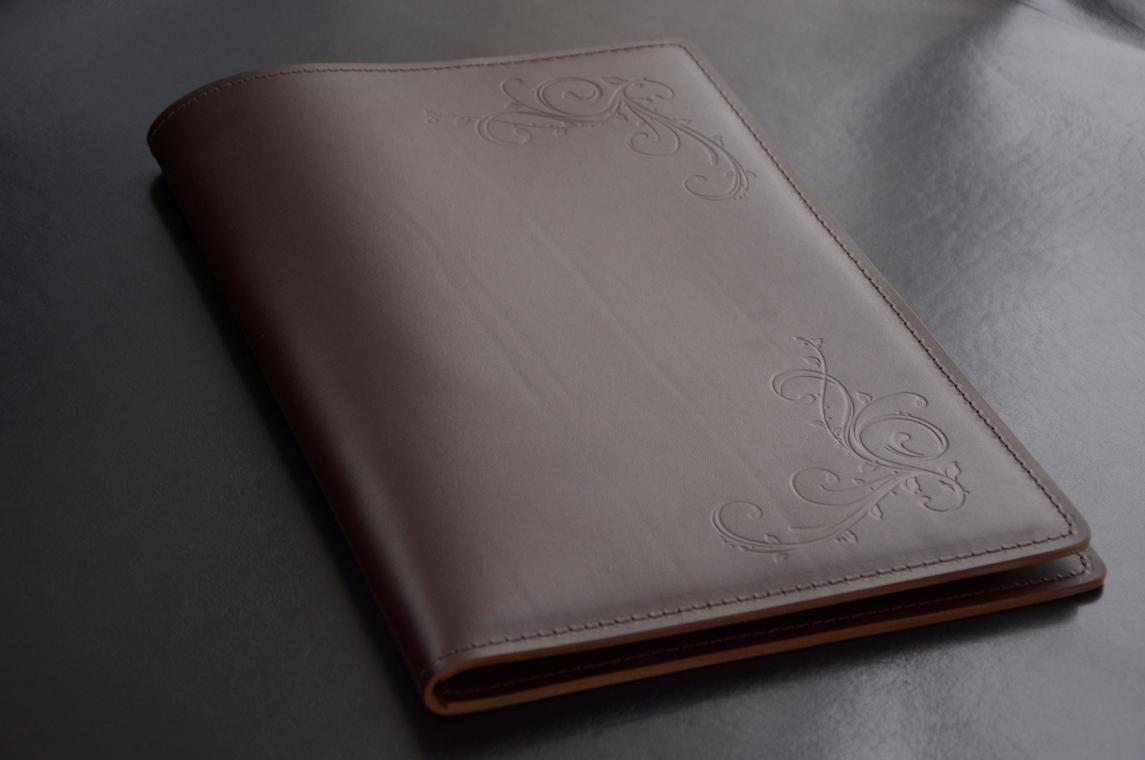 Кожаная папка с блокнотом А4 кожа премиум Lux Full Grain цвет Brown.