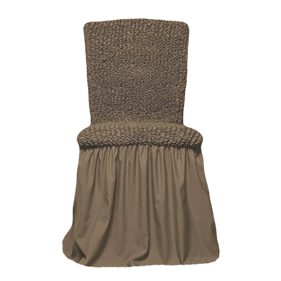 Чехлы на стулья универсальные, комплект из 6 штук, какао