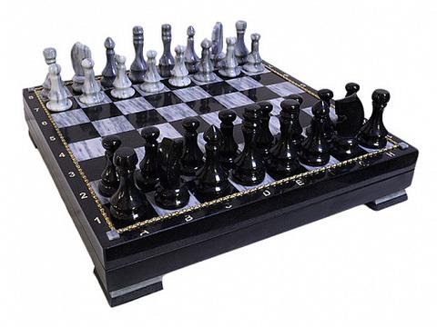 Шахматный ларец из мрамора и долерита в кейсе