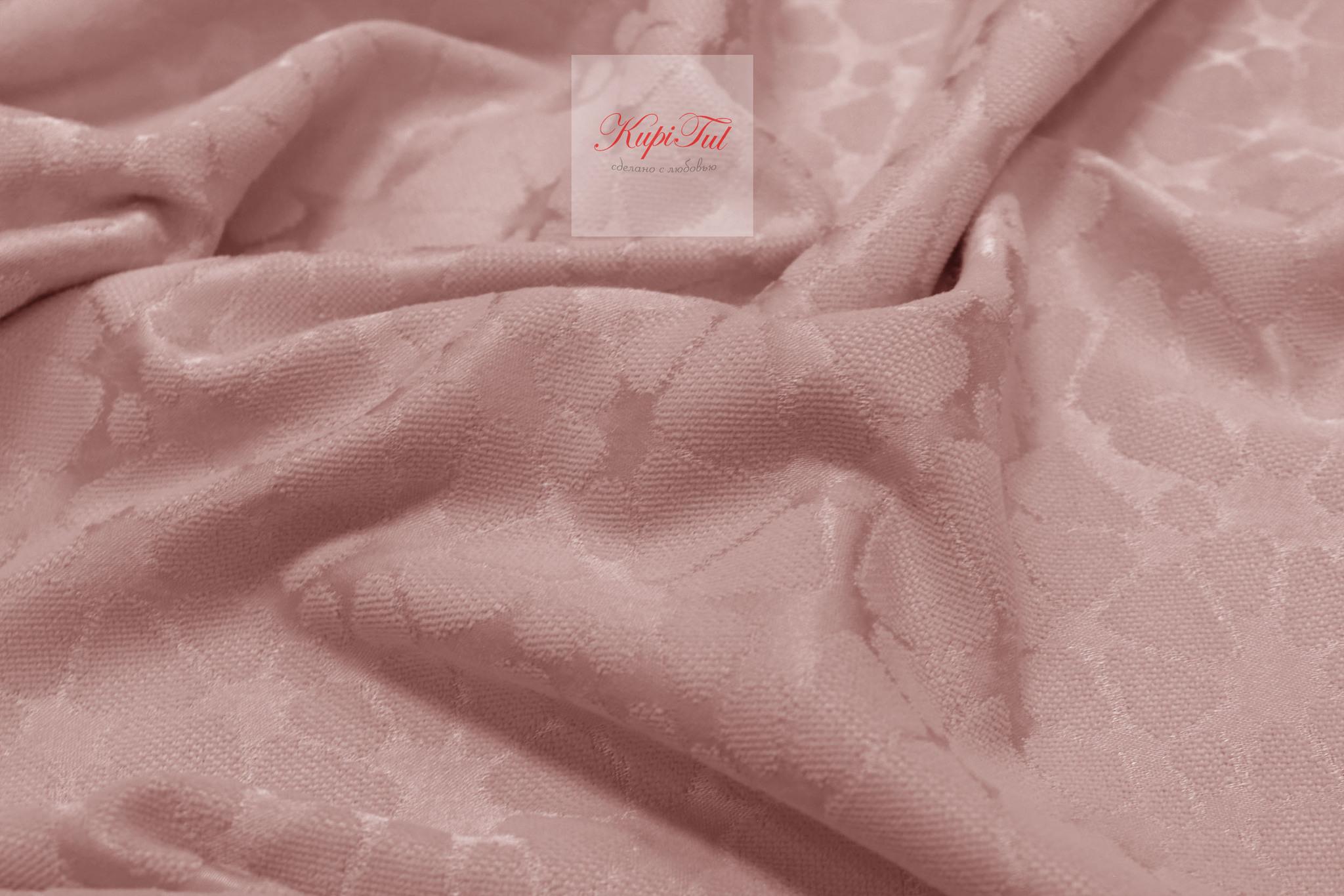 Длинные шторы. Лоран (светло-розовый). Шторы из стриженного бархата.
