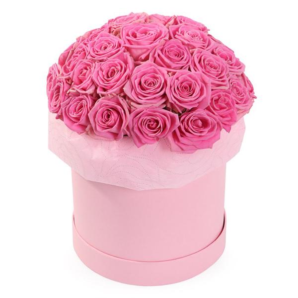 Букет 25 розовых роз в шляпной коробке