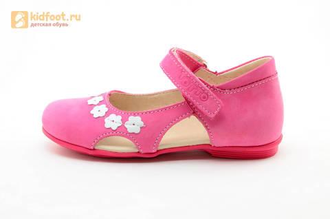 Туфли Тотто из натуральной кожи на липучке для девочек, цвет Розовый, 10208A. Изображение 3 из 16.