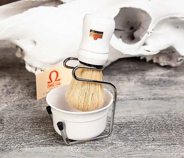 RAZ410-2 Набор Omega из помазка, подставки и чаши (белый)
