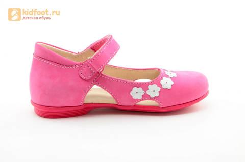 Туфли Тотто из натуральной кожи на липучке для девочек, цвет Розовый, 10208A. Изображение 4 из 16.