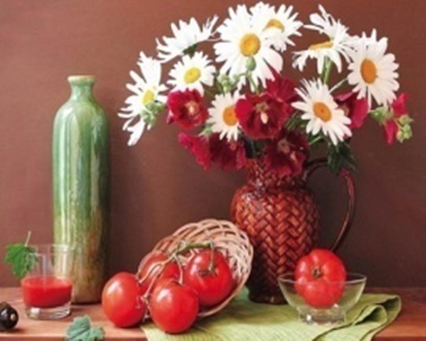 Картина раскраска по номерам 30x40 Цветы в вазе и помидоры ...