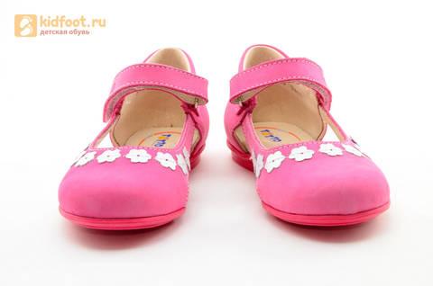 Туфли Тотто из натуральной кожи на липучке для девочек, цвет Розовый, 10208A. Изображение 5 из 16.