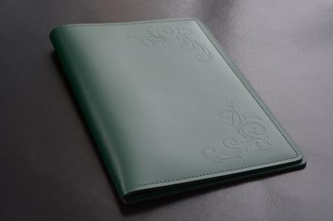 Кожаная папка с блокнотом А4 цвет зеленый.
