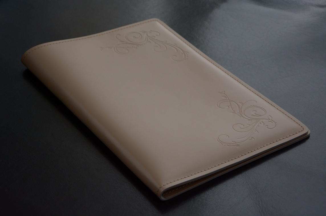 Кожаная папка с блокнотом А4 цвет какао.