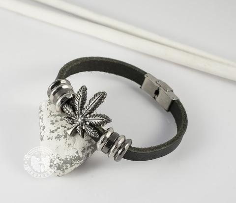 BL396-1 Черный браслет из натуральной кожи и металла