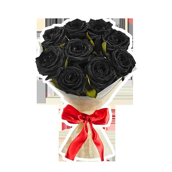 Букет 9 черных роз + крафтбумага
