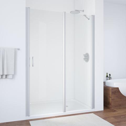 Душевая дверь в нишу Vegas Glass EP-F-1  профиль матовый хром, стекло прозрачное