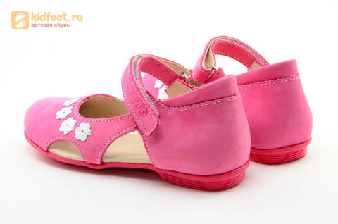 Туфли Тотто из натуральной кожи на липучке для девочек, цвет Розовый, 10208A. Изображение 7 из 16.
