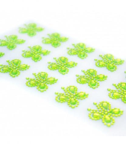 Стразы самоклеющиеся бабочки салатовые 15 шт