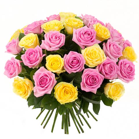"""Букет """"Аура"""" из разноцветных роз (35шт) в ассортименте"""