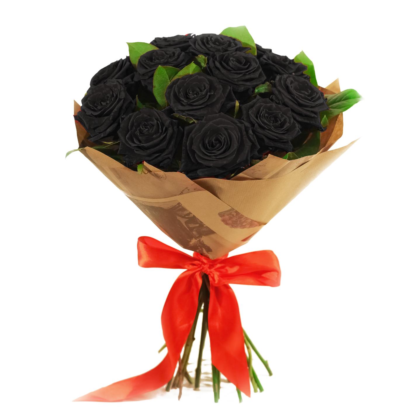 Букет 15 черных роз + крафтбумага