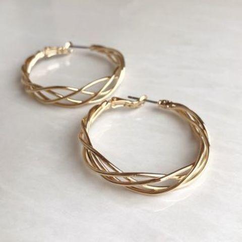 Серьги кольца Колосья 4см, позолота