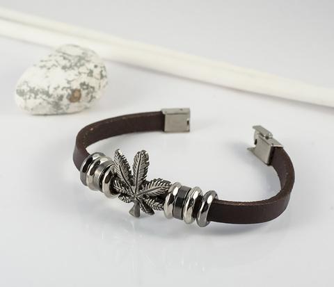 BL396-2 Коричневый браслет из кожи и металла &#34Неизвестное Растение&#34 (22 см)
