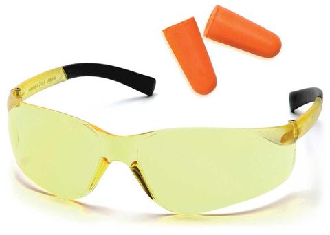 Очки баллистические стрелковые Pyramex Mini Ztek PYS2530SNDP беруши в комплекте желтые 89%