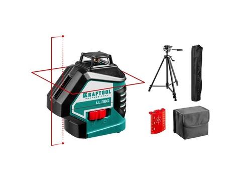 KRAFTOOL LL360 #3 нивелир лазерный, 2х360° , 20м/70м,  IP54, точн. +/-0,2 мм/м, штатив, в сумке