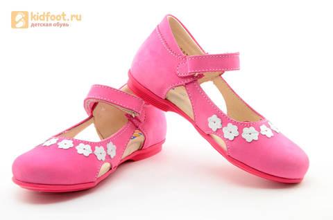 Туфли Тотто из натуральной кожи на липучке для девочек, цвет Розовый, 10208A. Изображение 10 из 16.