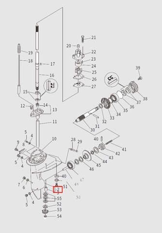Корпус редуктора для лодочного мотора T9.8 Sea-PRO (13-2)