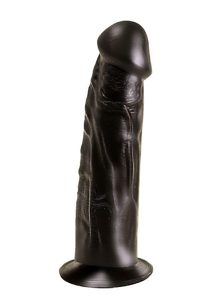 Реалистичные: Упругий чёрный фаллоимитатор на подошве-присоске - 18,8 см.