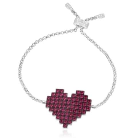 Браслет из серебра с подвеской бордовое сердце в стиле apm