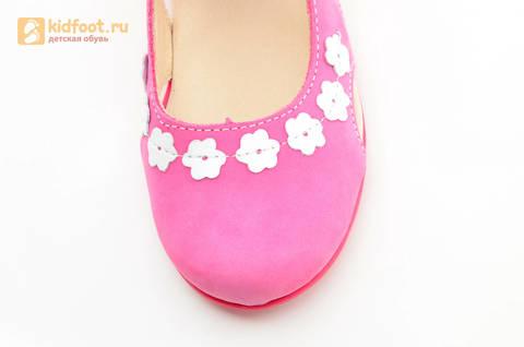 Туфли Тотто из натуральной кожи на липучке для девочек, цвет Розовый, 10208A. Изображение 12 из 16.