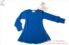 Платье с длинными рукавами ManyMonths, Синий (шерсть мериноса 100%)