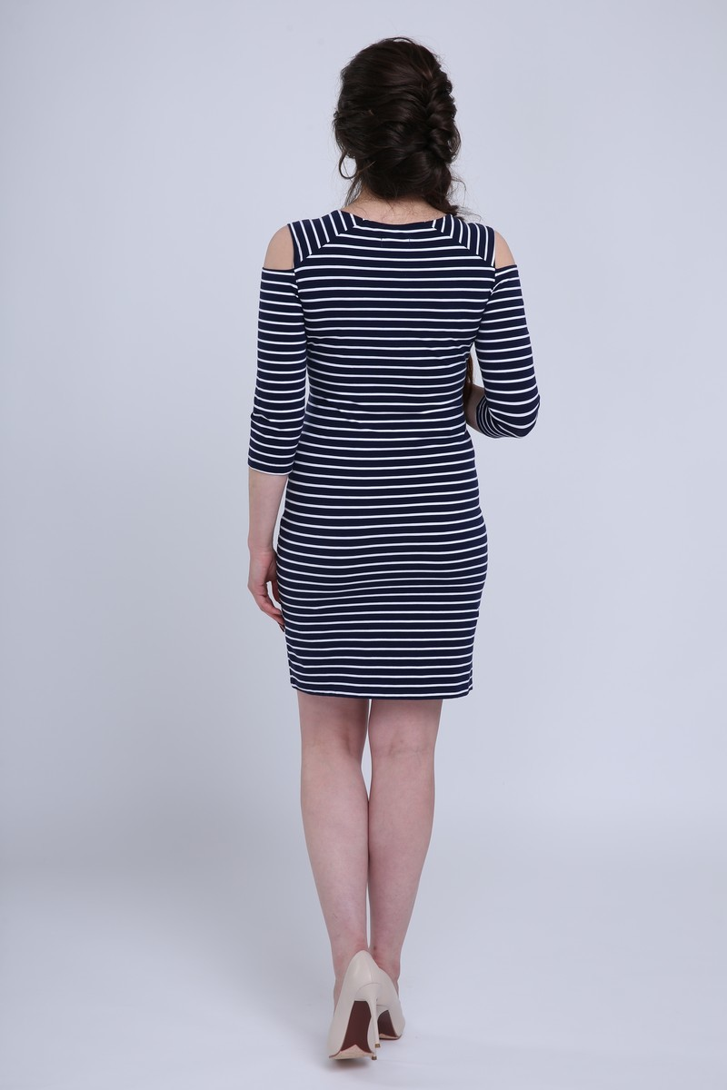 Платье 08732 синий/белый