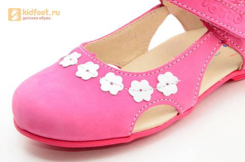 Туфли Тотто из натуральной кожи на липучке для девочек, цвет Розовый, 10208A. Изображение 13 из 16.