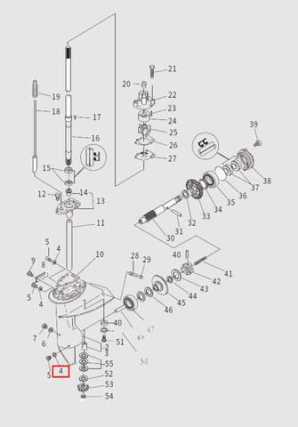 Прокладка сливной пробки для лодочного мотора T9.8 Sea-PRO (13-4)