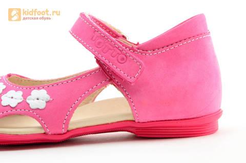 Туфли Тотто из натуральной кожи на липучке для девочек, цвет Розовый, 10208A. Изображение 14 из 16.
