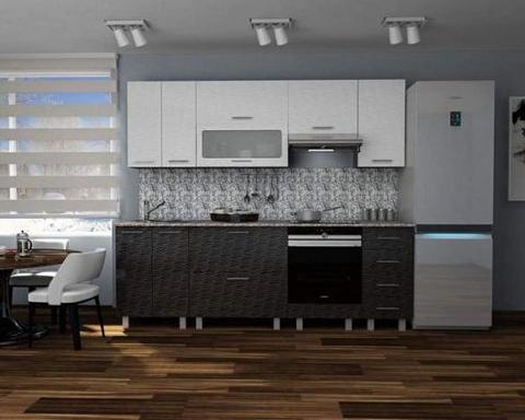 Кухня ВИЕЛЛА 1,5 страйп чёрный-горизонт